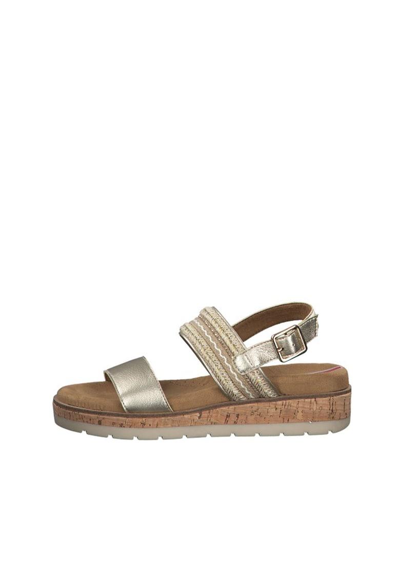 Sandale wedge slingback cu aspect metalizat s.Oliver fashiondays.ro