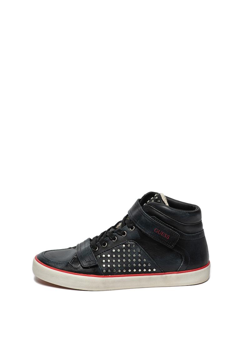 Pantofi sport mid-high cu tinte si garnituri de piele