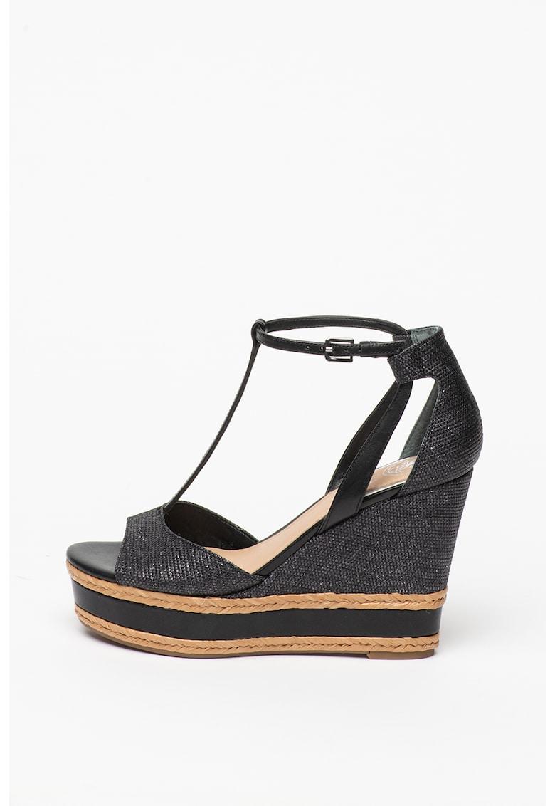 Sandale din piele cu talpa wedge si garnituri texturate