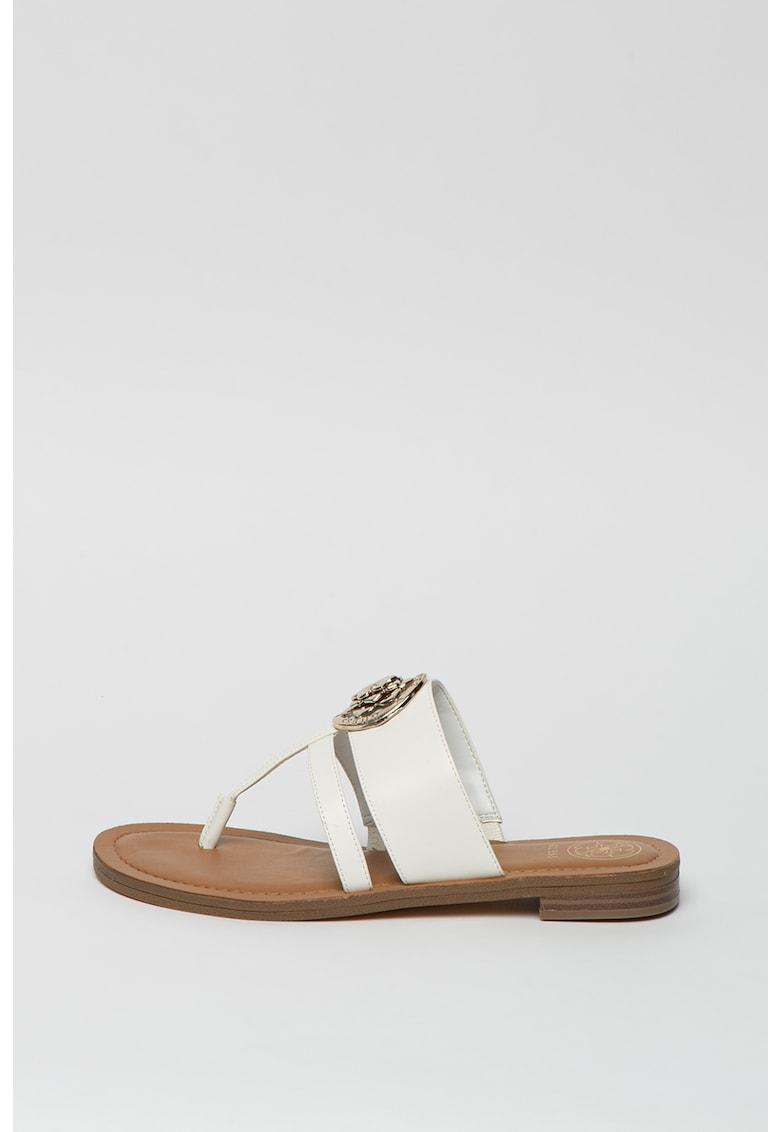 Papuci de piele ecologica cu bareta separatoare imagine fashiondays.ro 2021