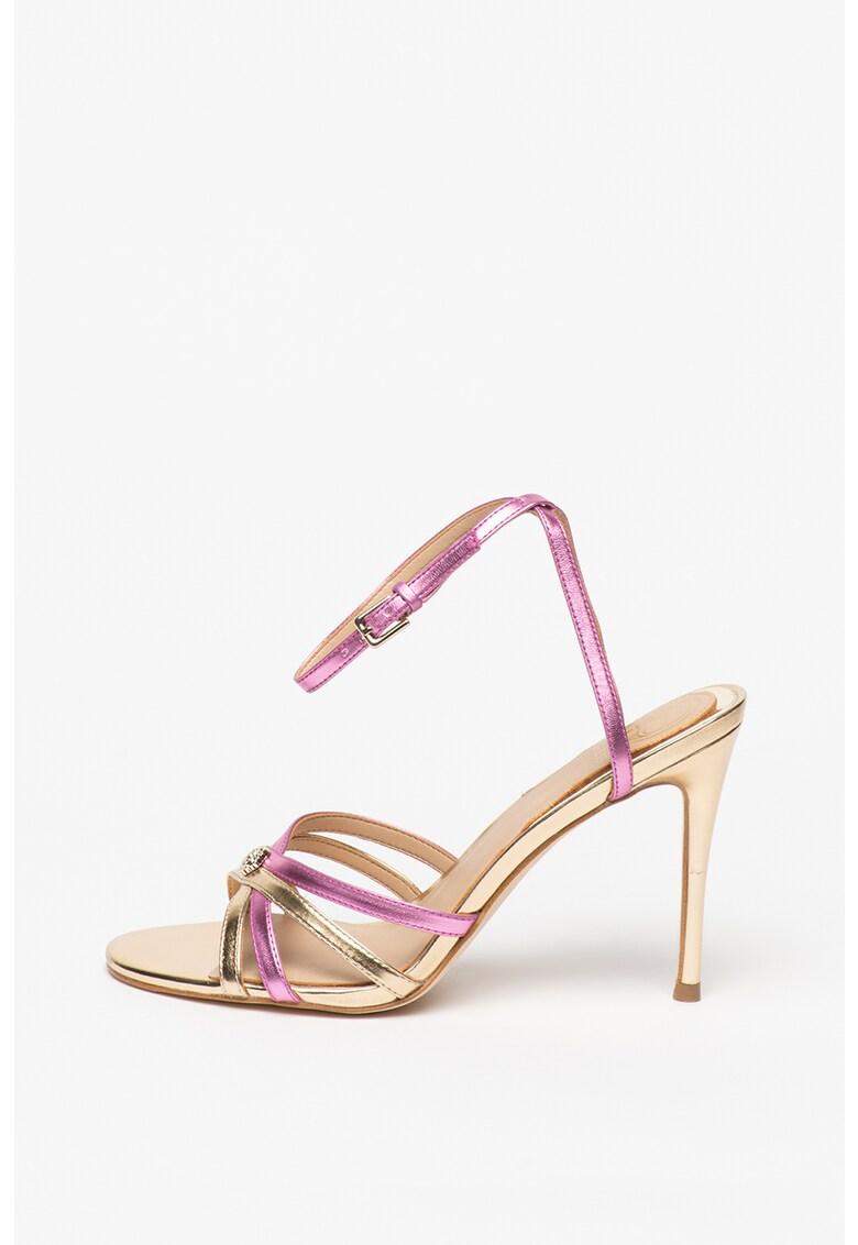 Sandale din piele ecologica cu toc stiletto