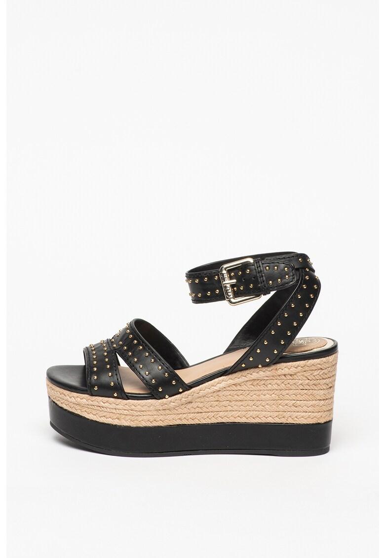 Sandale din piele cu talpa wedge