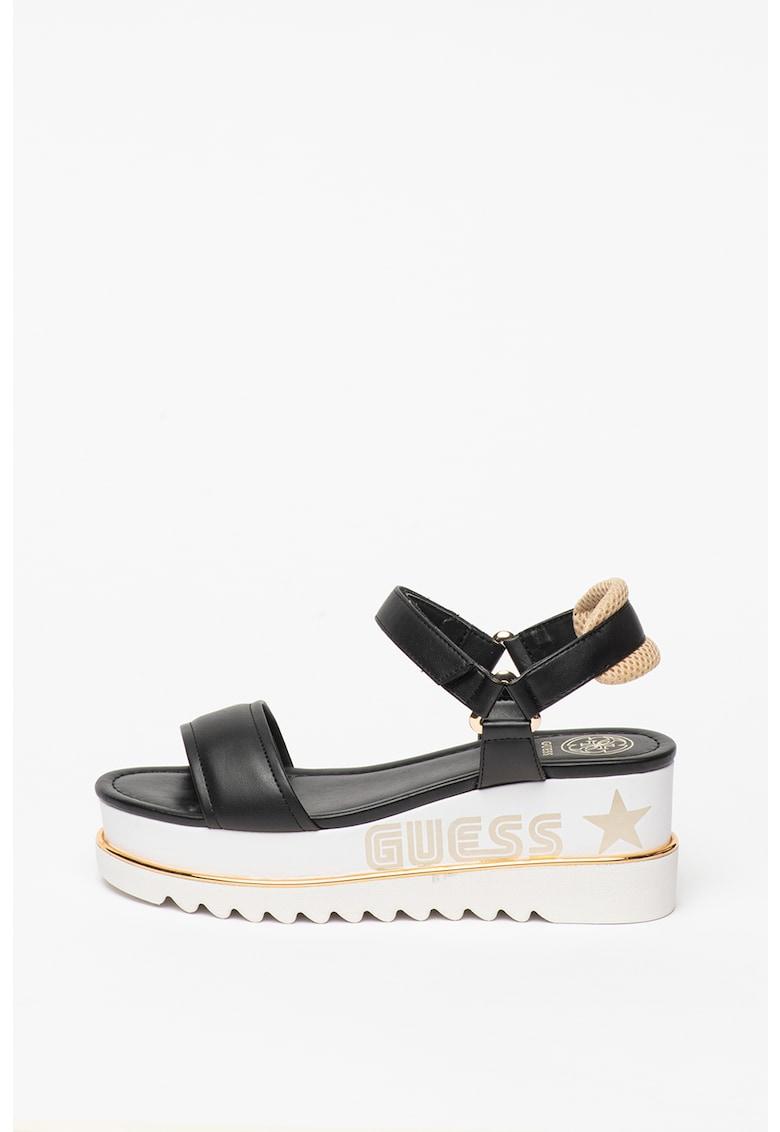 Sandale din piele ecologica cu talpa wedge si logo
