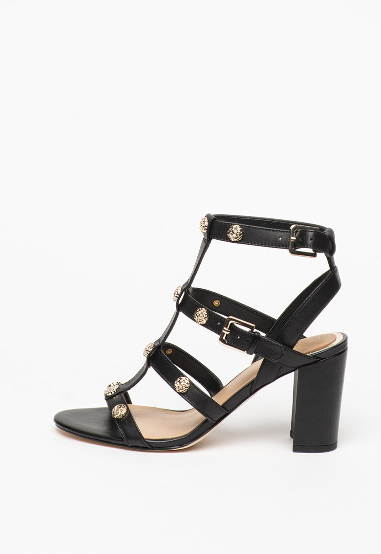 Sandale din piele cu toc masiv