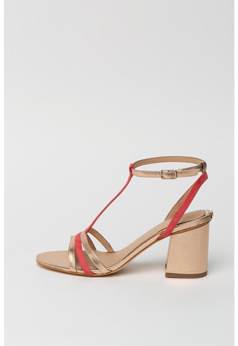Sandale din piele ecologica si piele intoarsa cu toc masiv