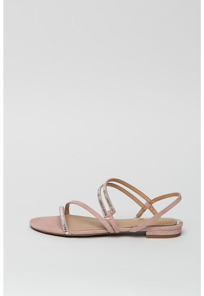 Sandale de piele intoarsa cu aplicatii din strasuri