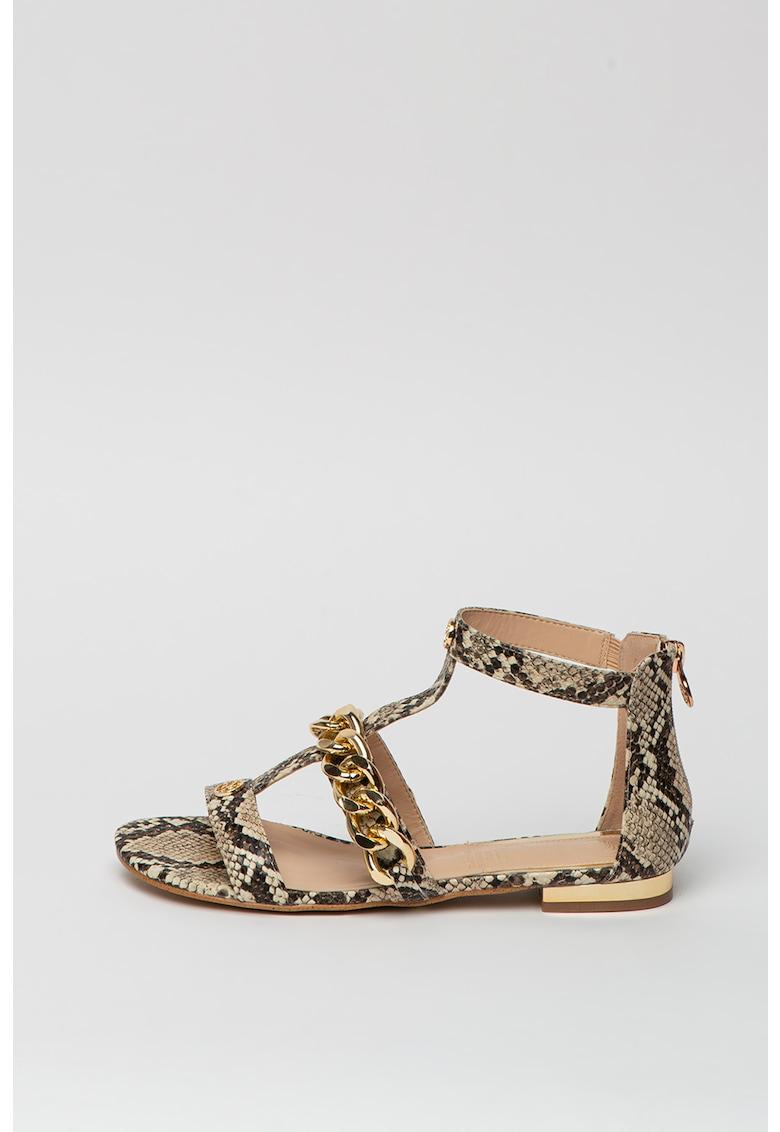 Sandale de piele ecologica - cu bareta in forma de T si model piele de reptila