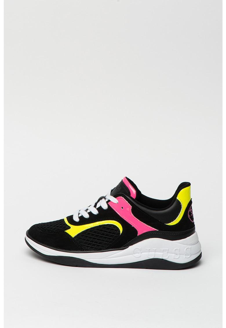 Pantofi sport din plasa cu insertii din piele intoarsa ecologica
