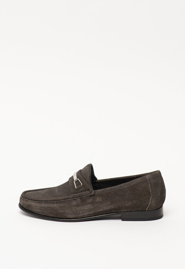 Pantofi loafer de piele intoarsa - cu logo metalic imagine