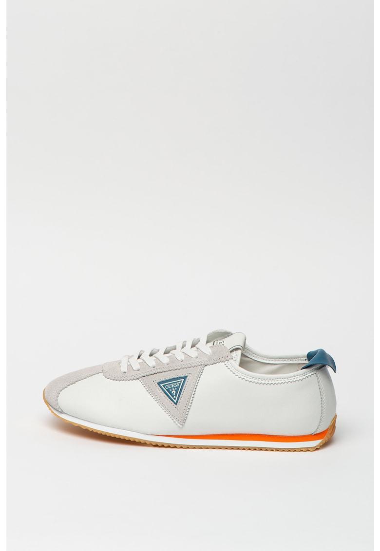 Pantofi sport din piele si piele ecologica cu detaliu logo
