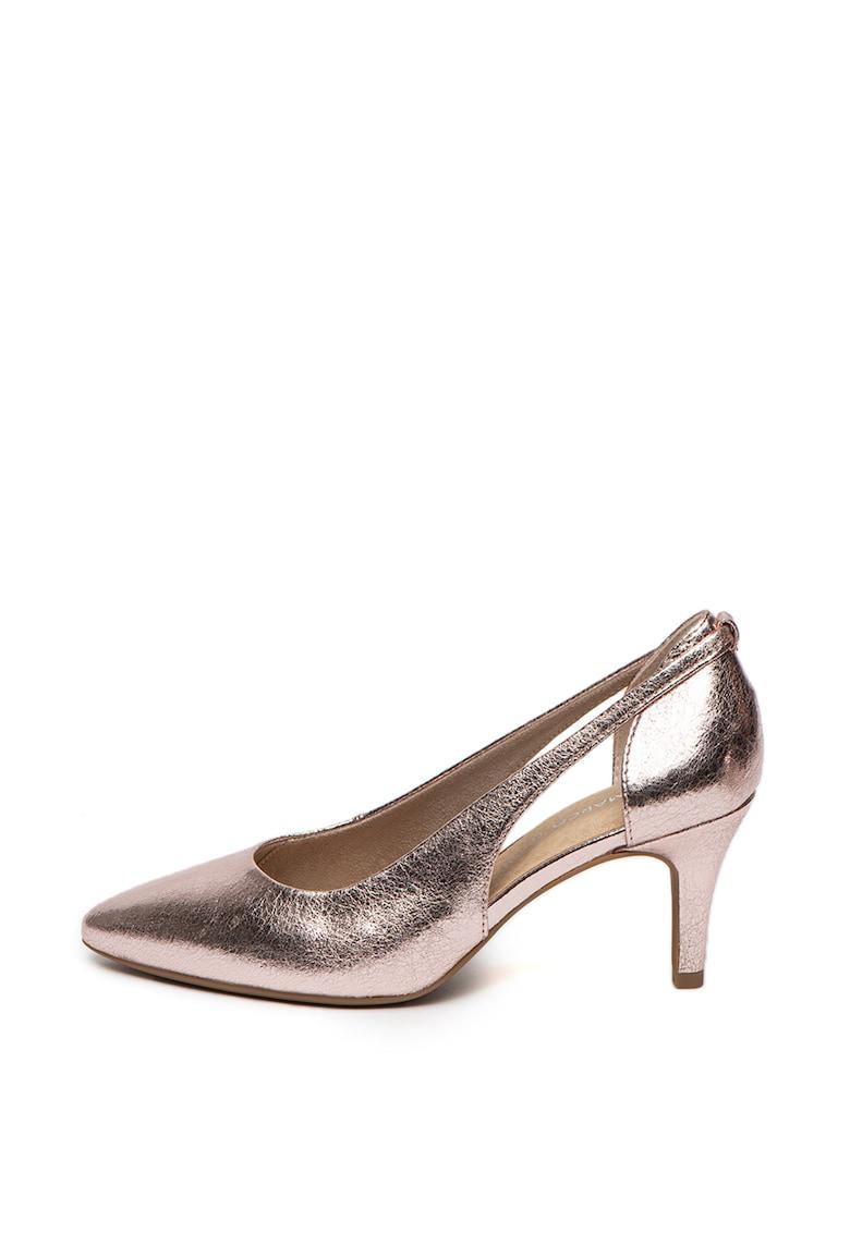 Pantofi de piele ecologica - cu varf ascutit si decupaje