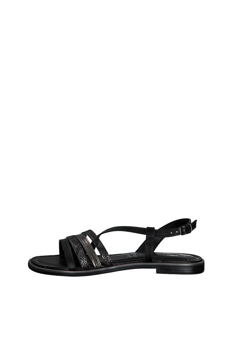 Sandale de piele ecologica - cu garnituri cu aspect de piele de crocodil