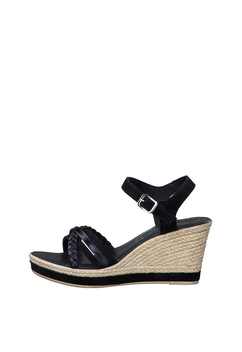 Sandale tip espadrile de piele ecologica cu talpa wedge