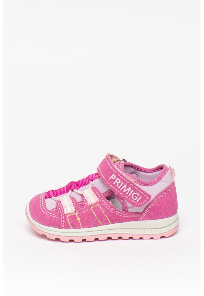 Pantofi sport cu velcro si insertii de piele intoarsa