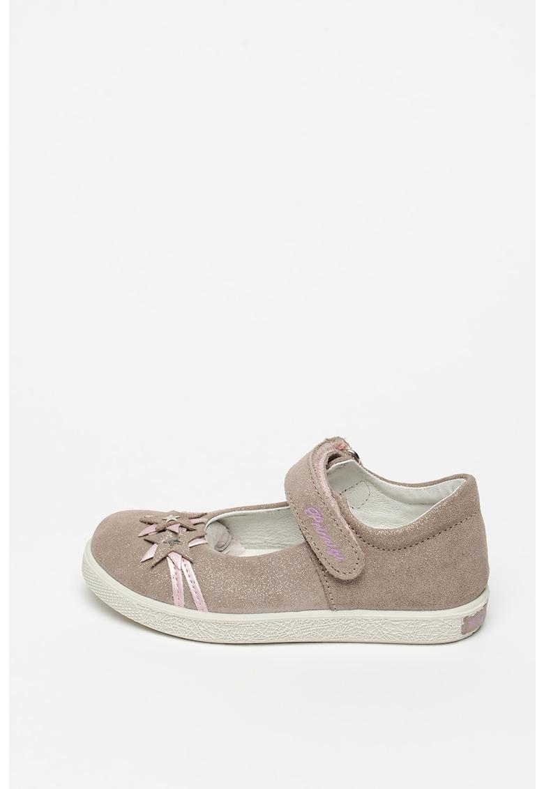 Pantofi Mary Jane de piele cu aspect stralucitor