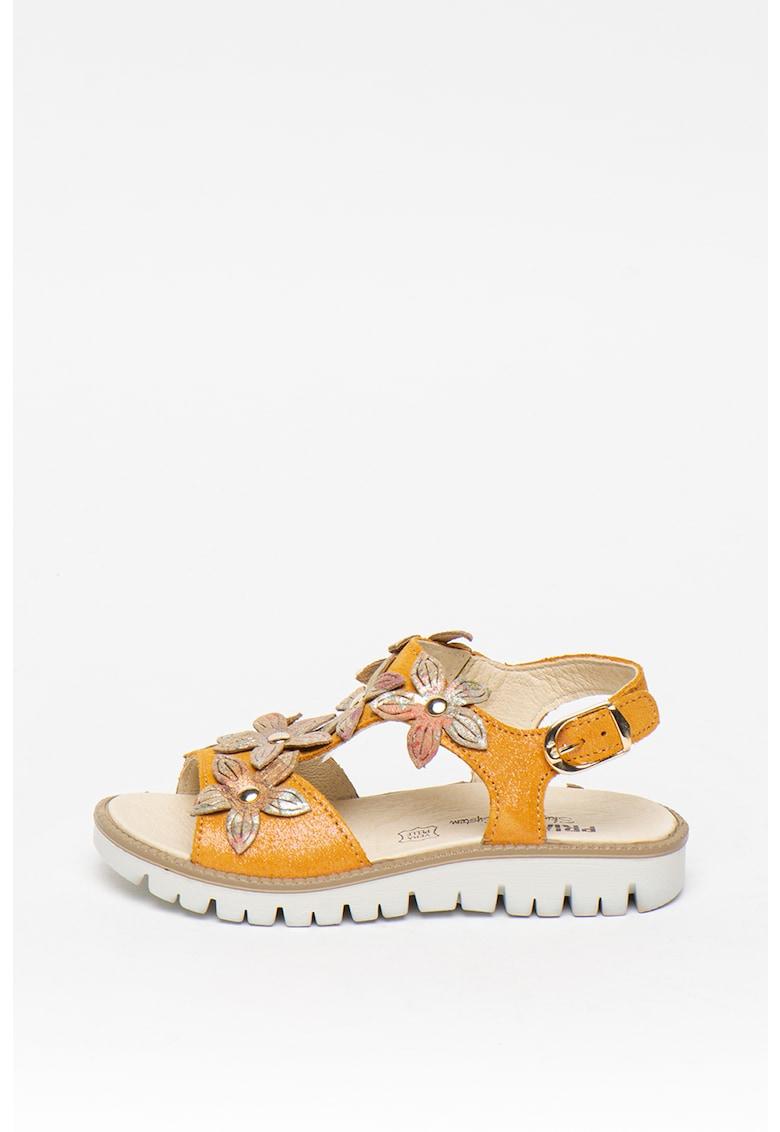 Sandale de piele cu detalii florale