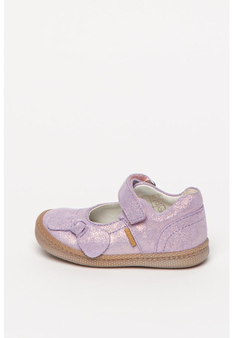 Pantofi Mary Jane din piele intoarsa cu aspect stralucitor