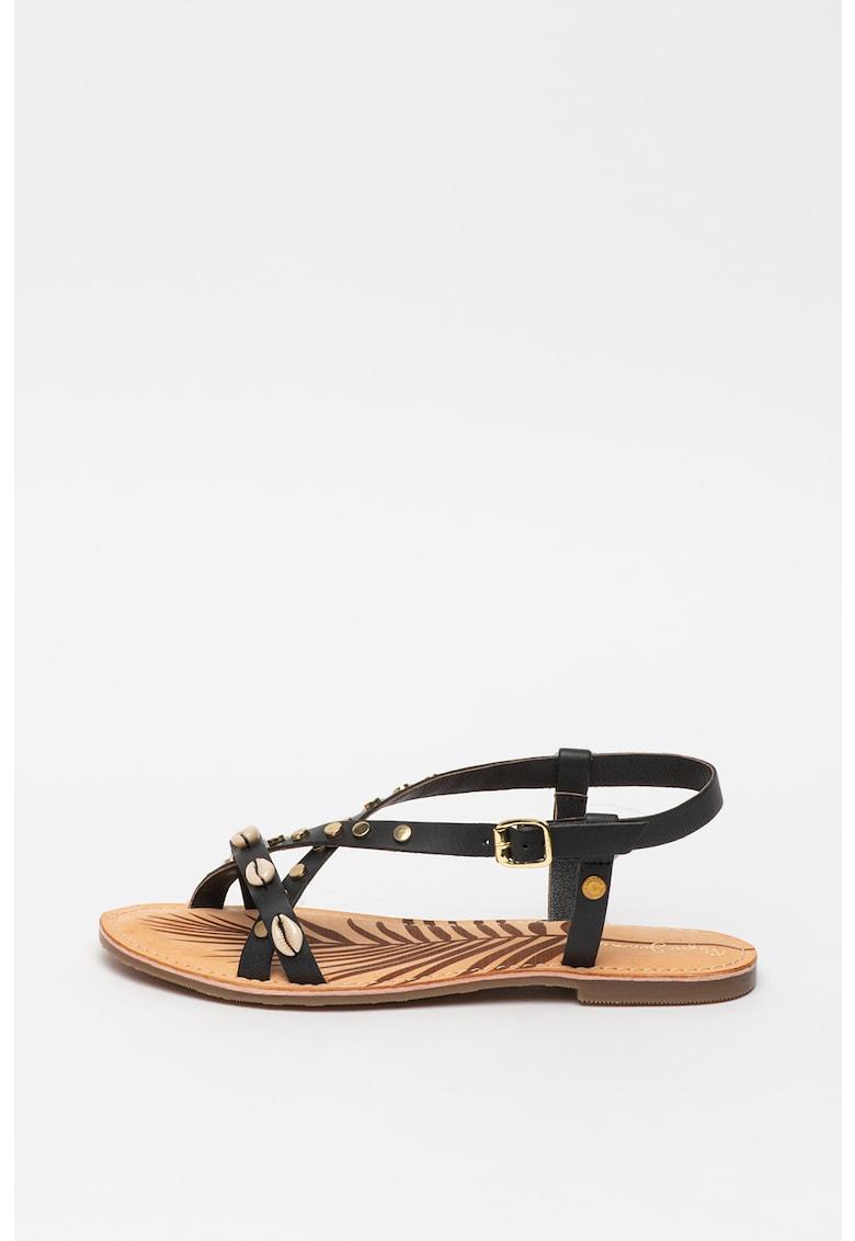 Sandale de piele decorate cu scoici March Sea