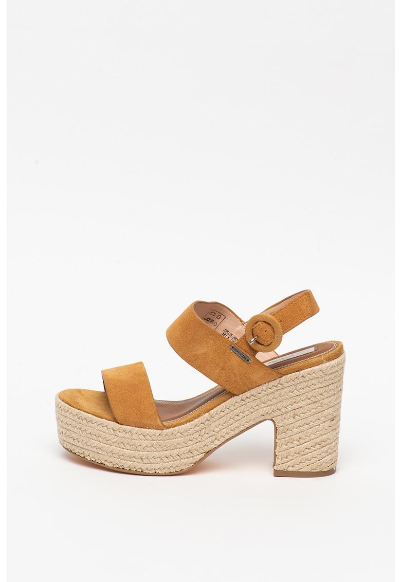 Sandale de piele intoarsa cu insertii de iuta Blean Sue