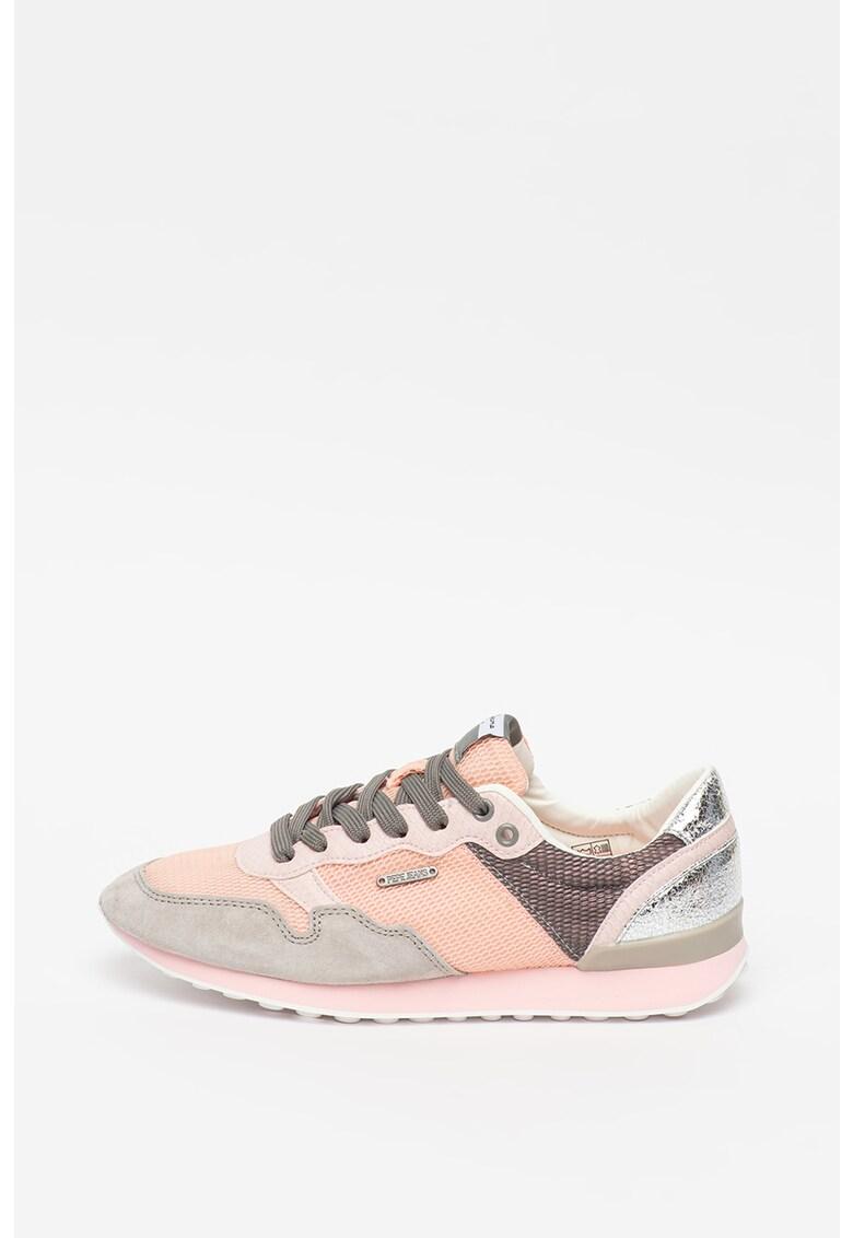 Pantofi sport de plasa cu insertii de piele intoarsa Bimba