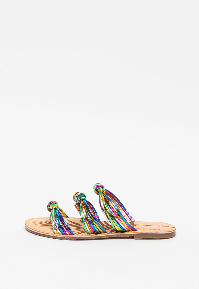 Papuci de piele cu detalii innodate March Mets imagine