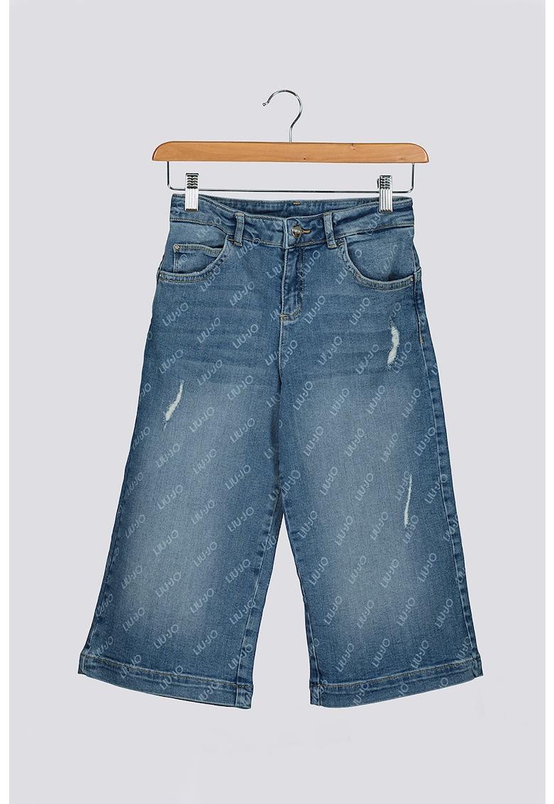 Pantaloni culotte din denim cu model logo