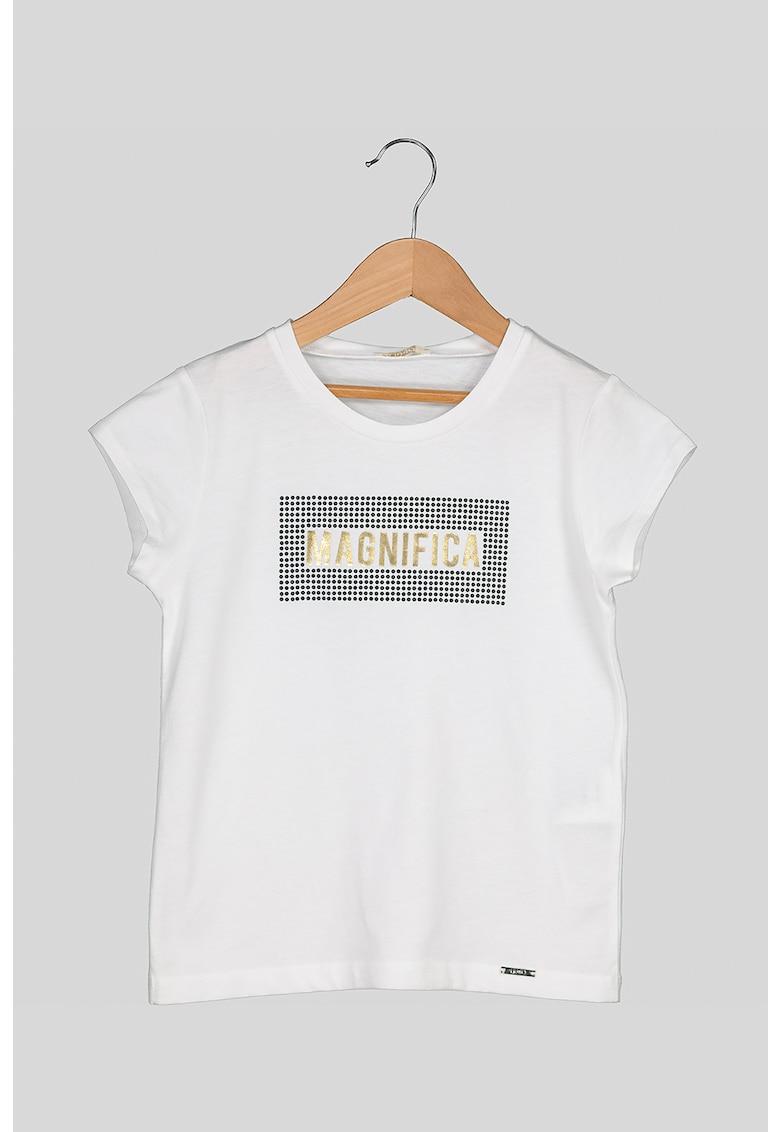 Tricou cu decolteu la baza gatului si imprimeu text stralucitor