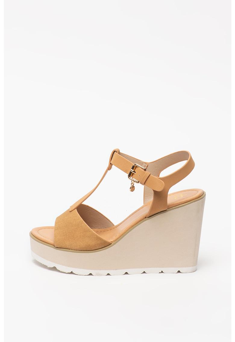 Sandale din piele ecologica cu talpa wedge Sanaz New