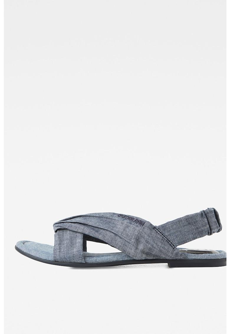 Sandale din denim cu talpa plata si broderie logo