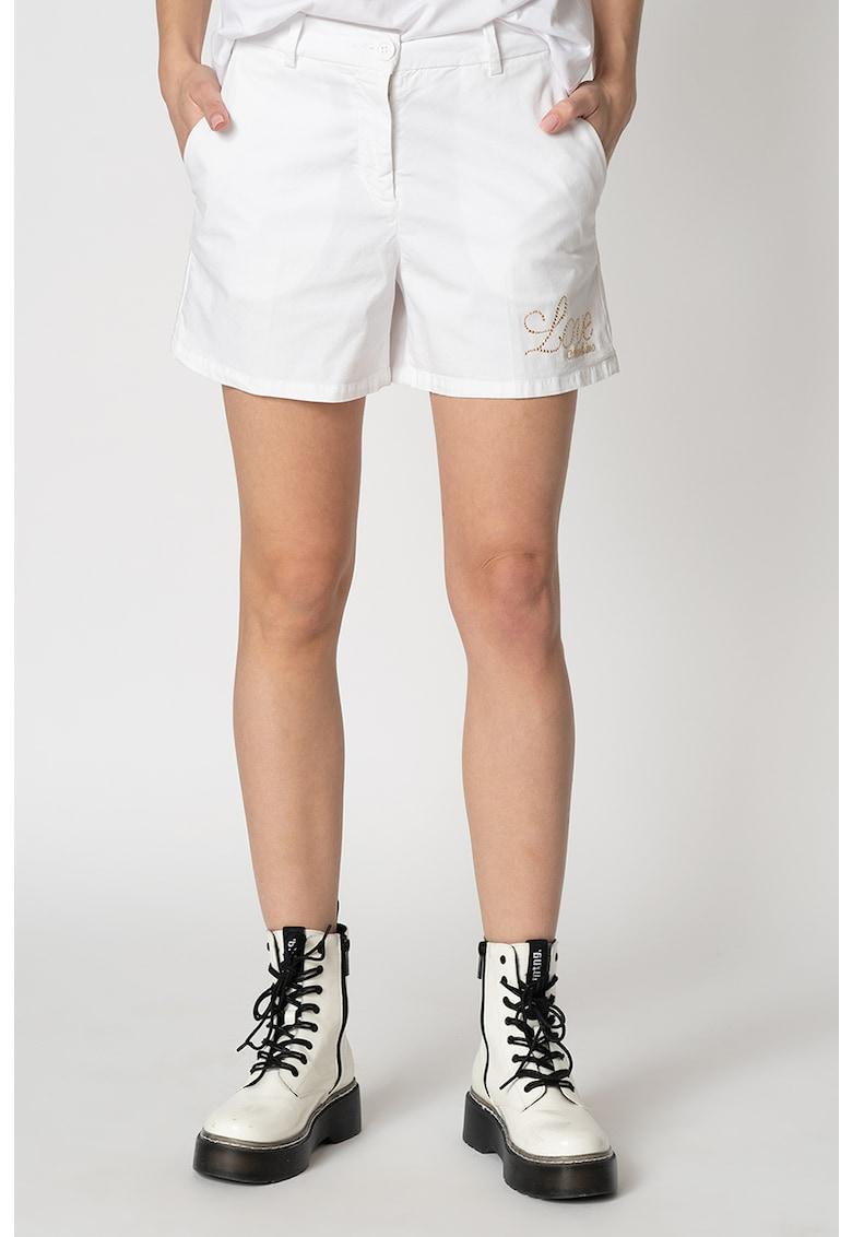 Pantaloni scurti cu logo cu strasuri