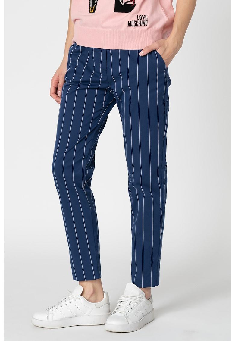 Pantaloni crop cu dungi