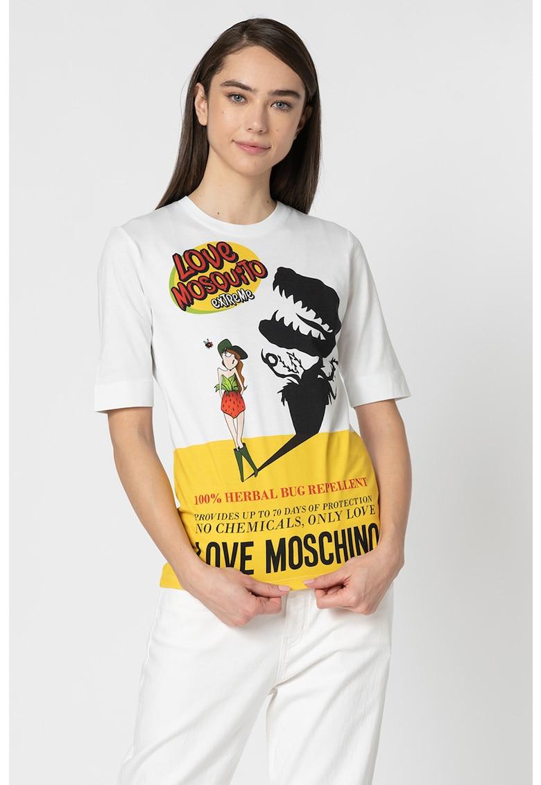 Tricou cu decolteu la baza gatului si imprimeu grafic W Love Moschino fashiondays.ro