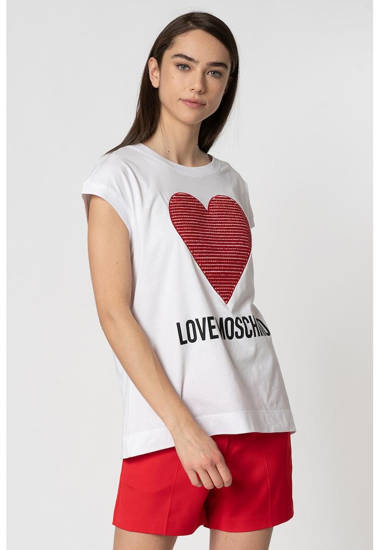 Tricou cu imprimeu logo si decorat cu paiete