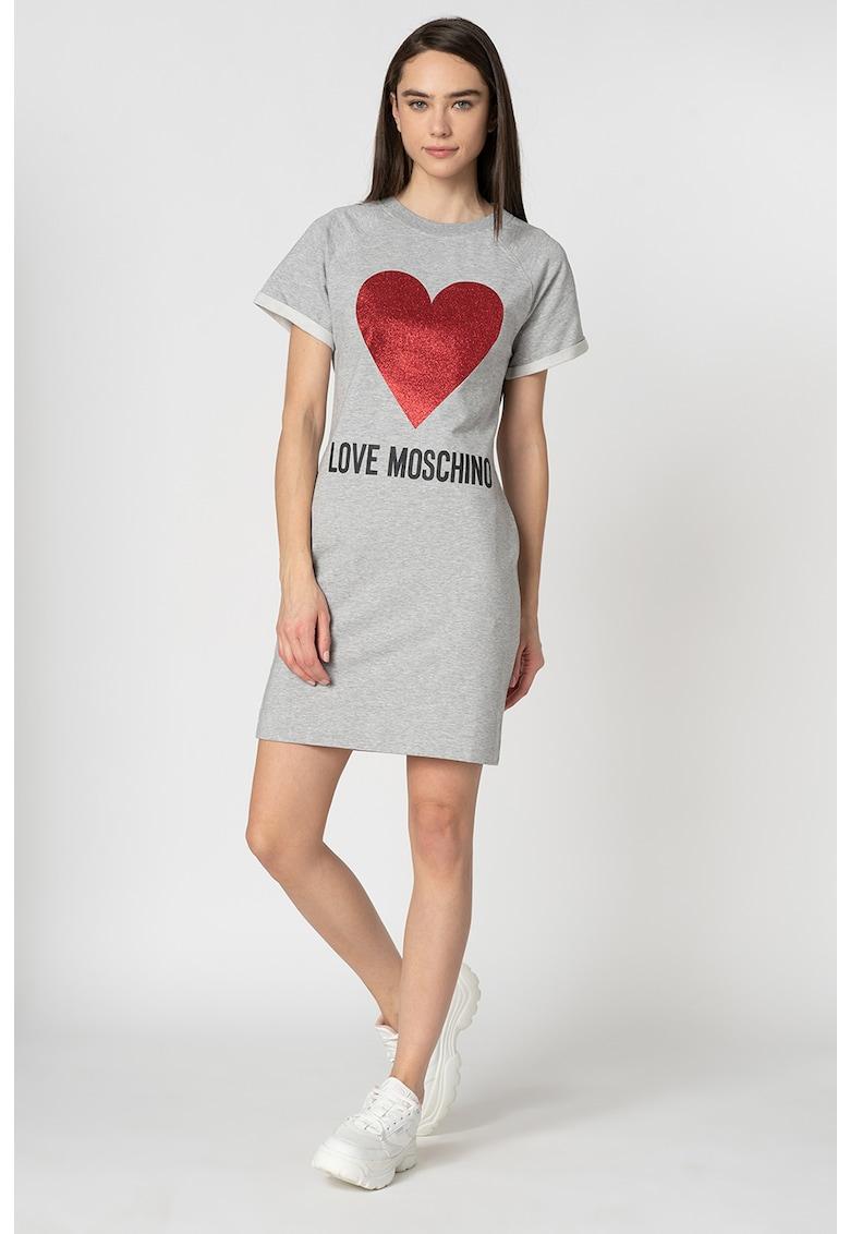 Rochie tip tricou din jerseu - cu imprimeu lucios Love Moschino fashiondays.ro