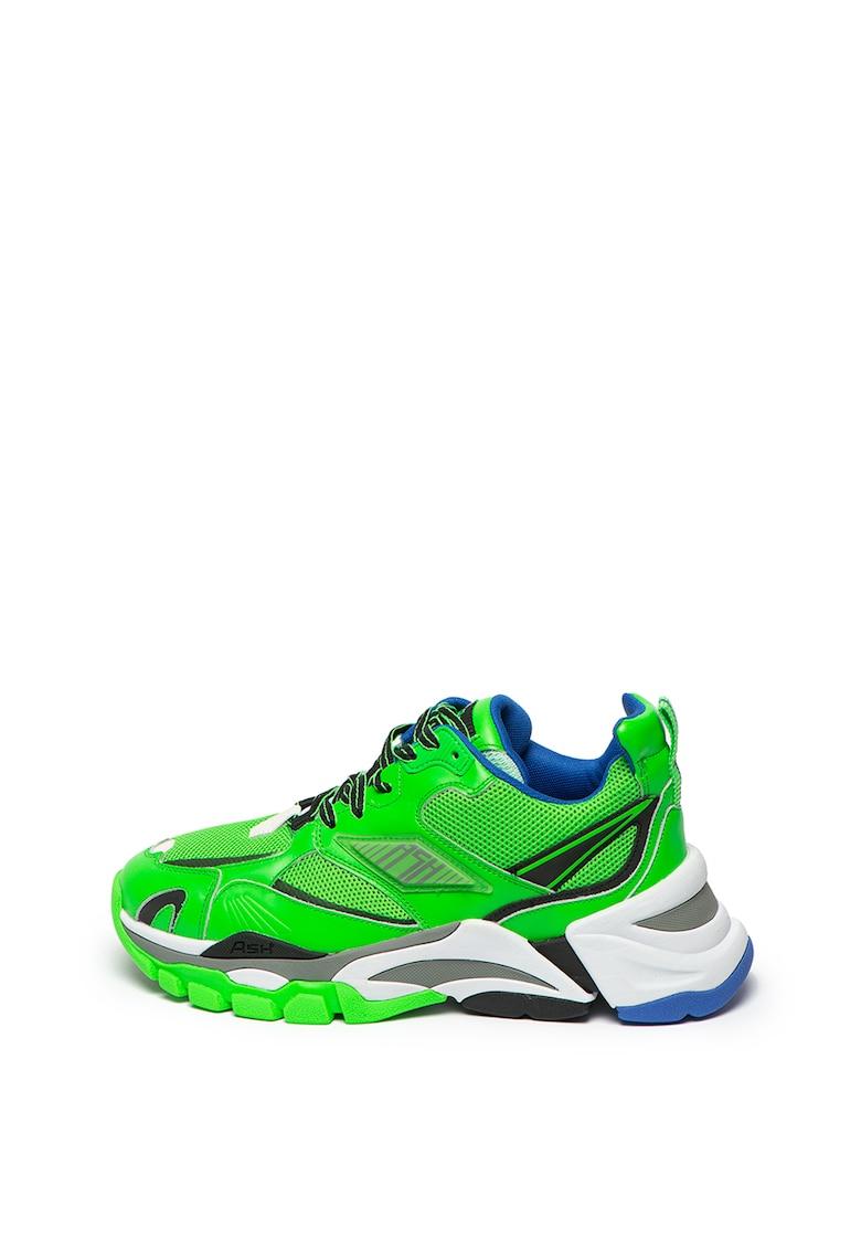 Pantofi sport din piele ecologica cu insertii din plasa Flex