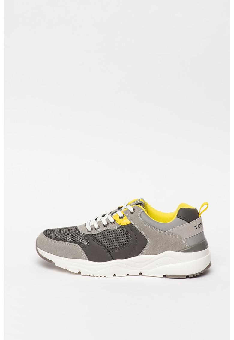 Pantofi sport cu insertii de piele intoarsa ecologica