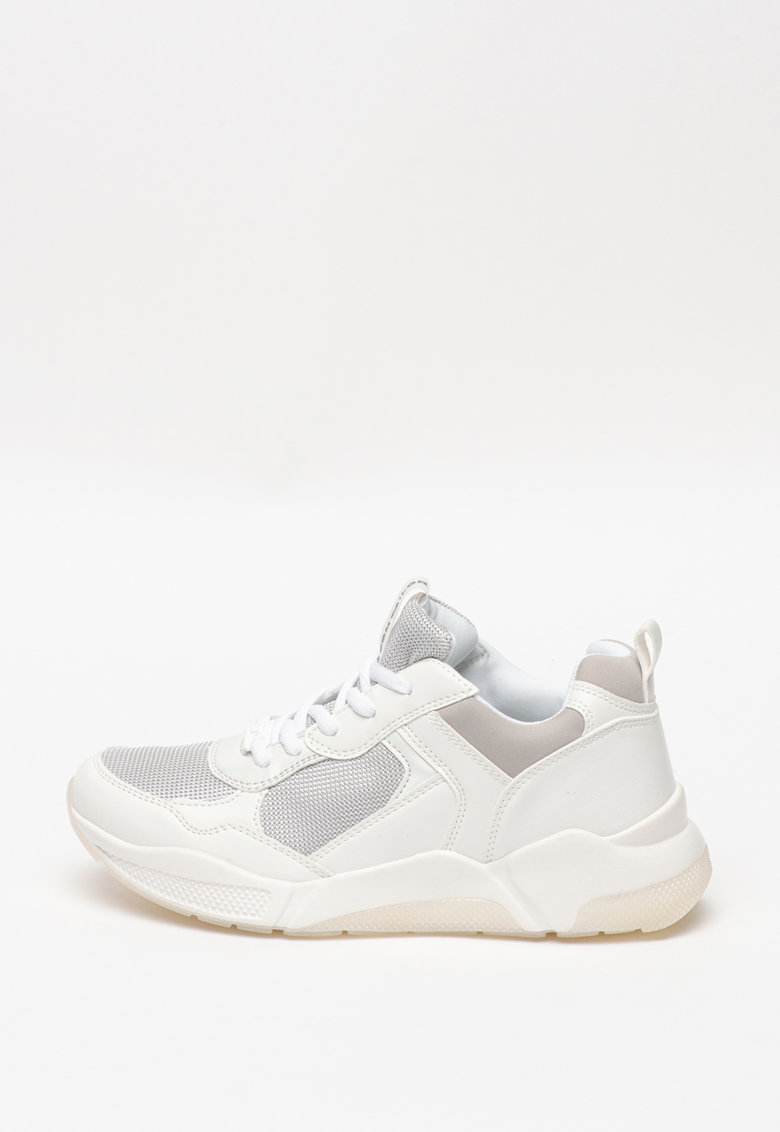 Pantofi sport din piele ecologica cu insertii din material textil