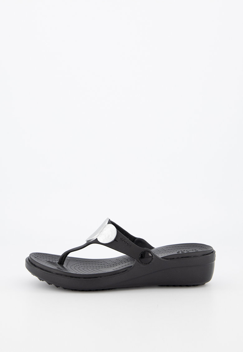 Papuci cu bareta separatoare si insertii metalizate Sanrah imagine fashiondays.ro Crocs