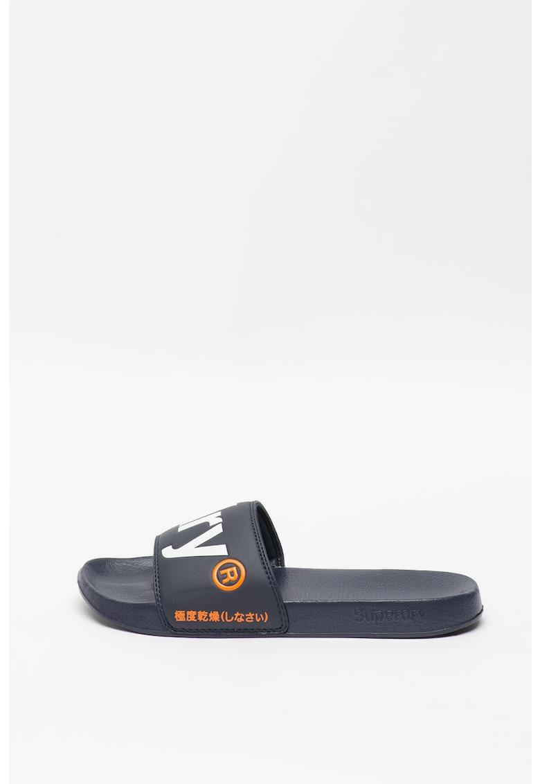 Papuci de piele ecologica cu logo imagine
