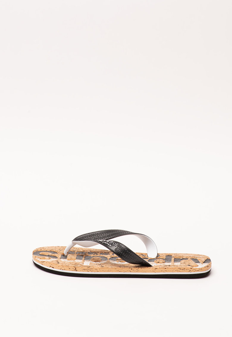 SUPERDRY Papuci flip-flop cu model logo Cork