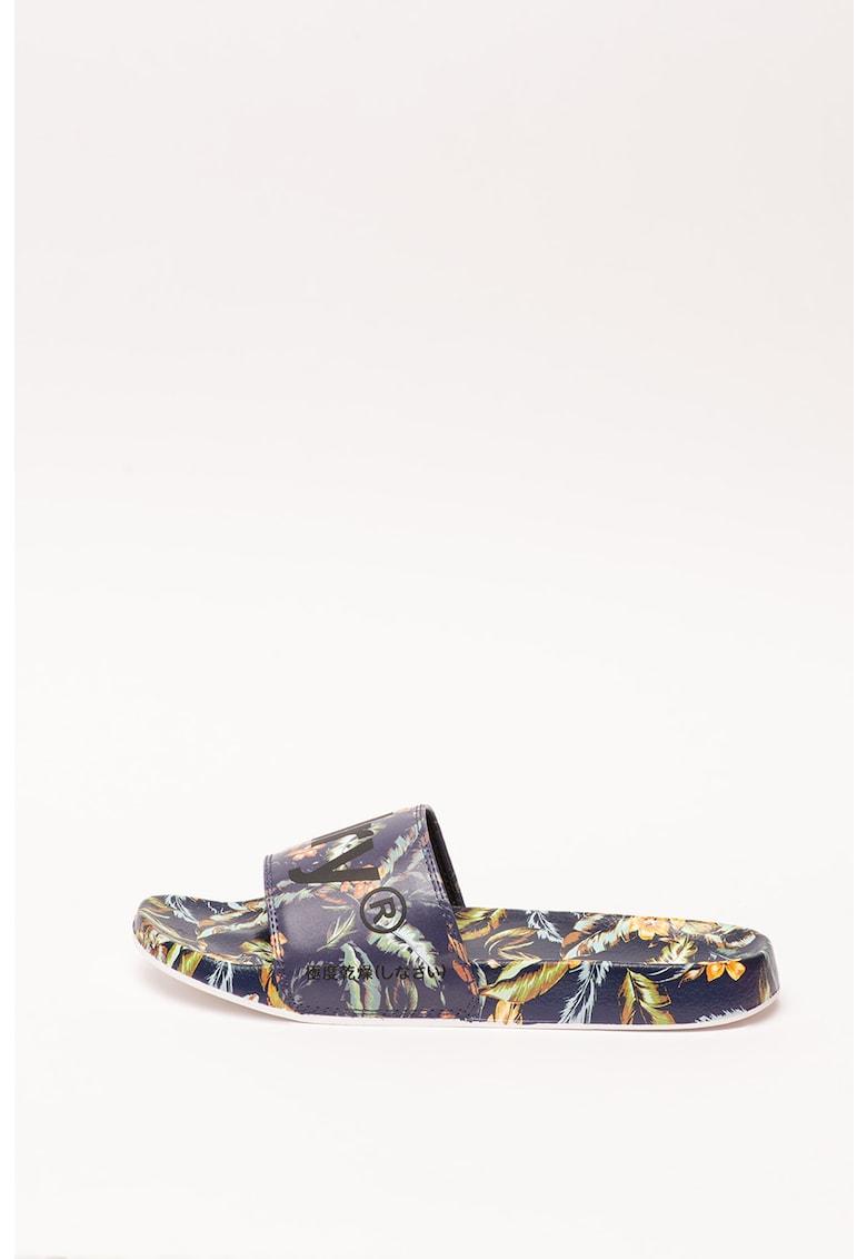 Papuci de piele ecologica Printed Beach