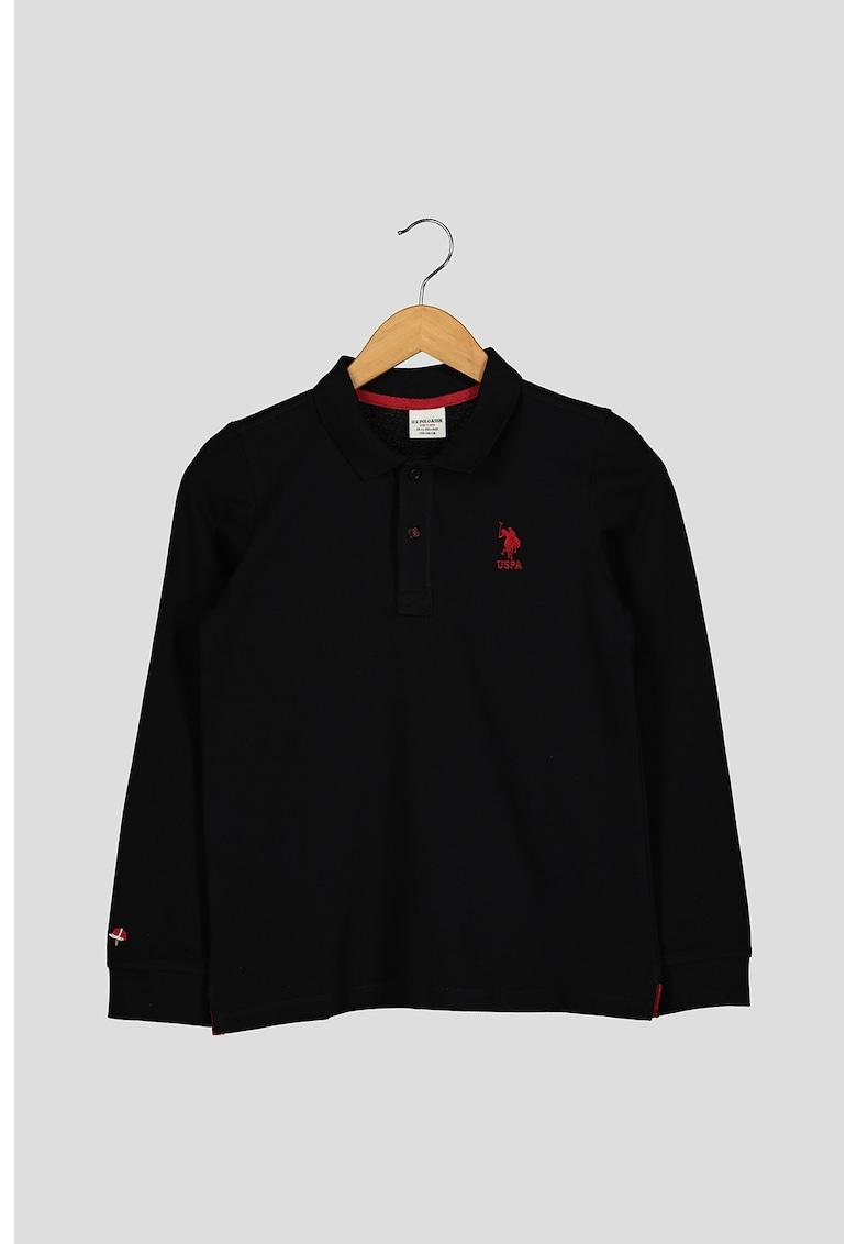 Bluza polo din bumbac cu aspect de pique
