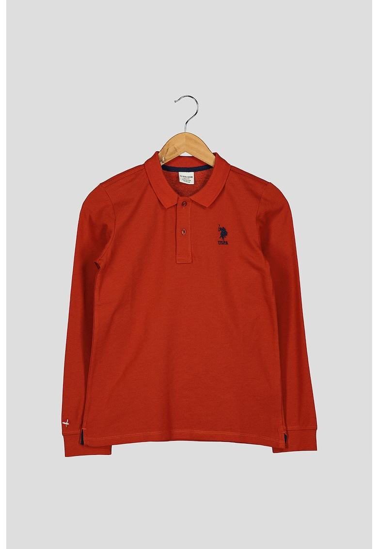 Bluza polo cu aspect pique imagine fashiondays.ro U.S. Polo Assn.