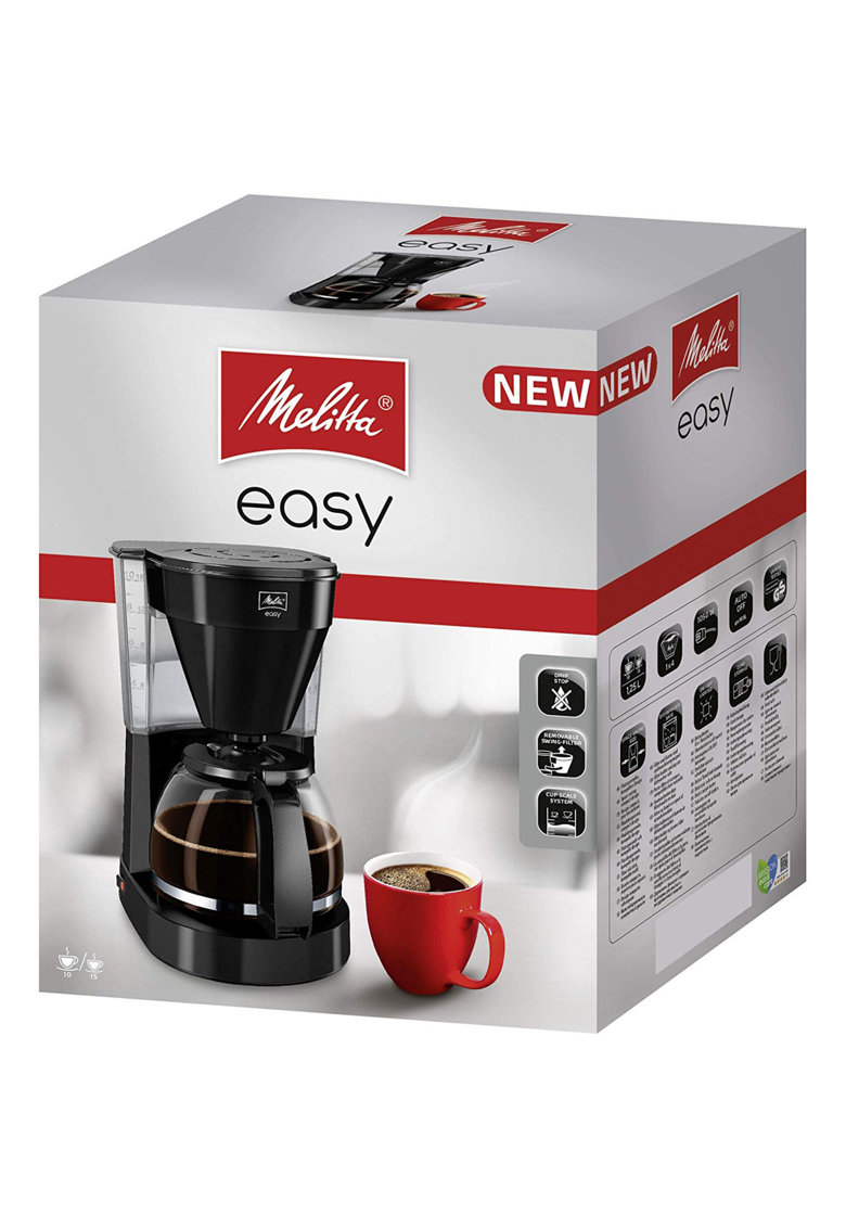 Melitta Cafetiera ® EASY II - 1000W - 1L - Cana sticla - Anti-picurare - Negru