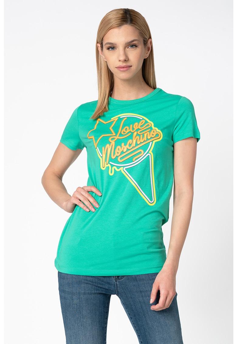 Tricou cu decolteu la baza gatului si imprimeu Love Moschino fashiondays.ro