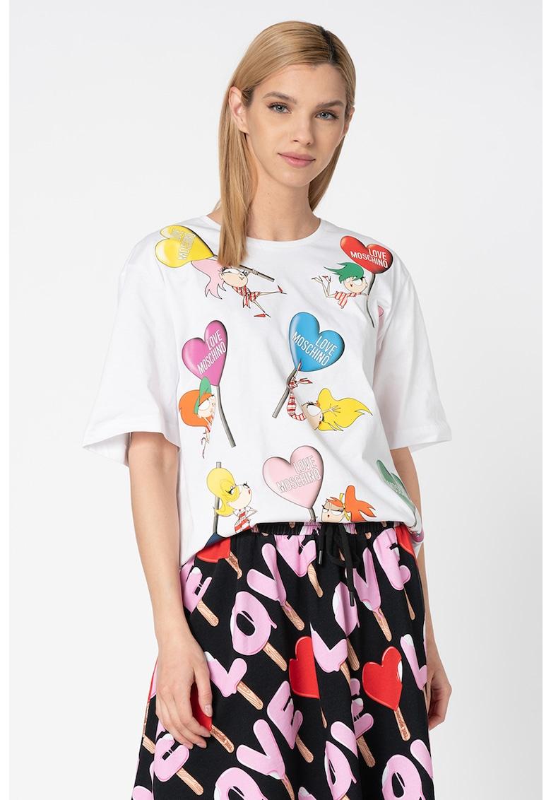 Tricou lejer cu imprimeu grafic F fashiondays.ro