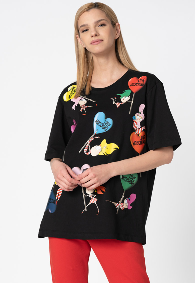Tricou lejer cu imprimeu grafic F Love Moschino fashiondays.ro