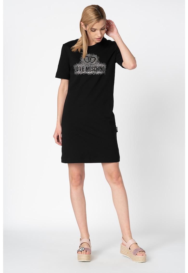 Rochie tip tricou cu logo din strasuri