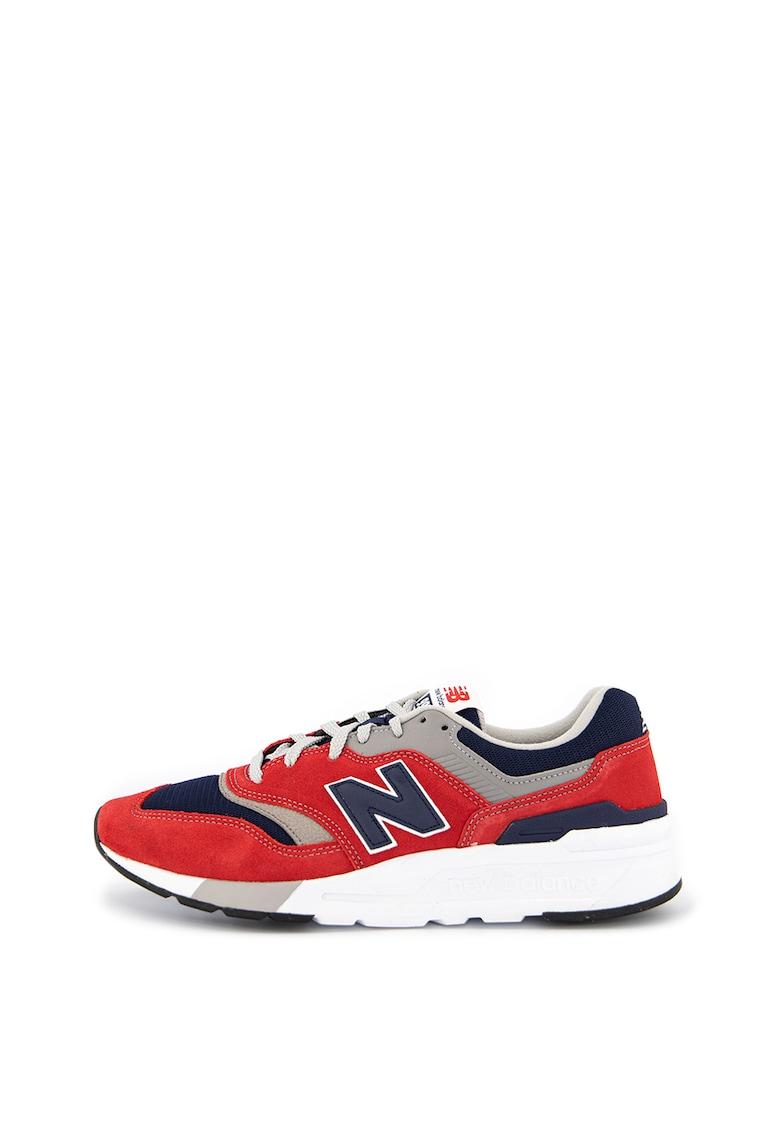 Pantofi sport cu insertii de piele si piele intoarsa 997H
