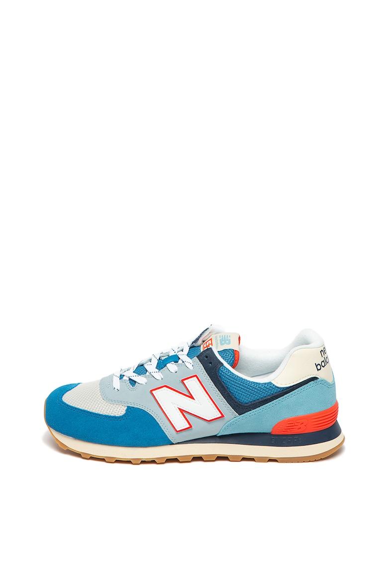 Pantofi sport cu model colorblock si garnituri de piele intoarsa 574